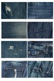 Raccolta di altamente dettagliato dei jeans Fondo e struttura Fotografia Stock Libera da Diritti