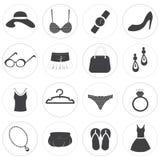 Raccolta di base di vettore delle icone di modo Fotografia Stock Libera da Diritti
