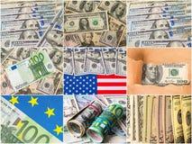 Raccolta di biglietto misto, del dollaro e dell'euro Immagini Stock Libere da Diritti
