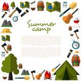 Raccolta di campeggio delle icone Campeggio di estate Campo della montagna Fotografia Stock Libera da Diritti