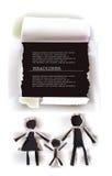 Raccolta di carta strappata, genitori felici e bambino illustrazione vettoriale