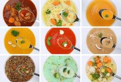 Raccolta di cibo della minestra delle minestre in tagliatella di verdure o del pomodoro della tazza Fotografia Stock