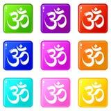 Raccolta di colore dell'insieme 9 delle icone di hinduism di simbolo del OM illustrazione di stock