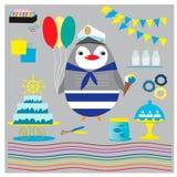 Raccolta di compleanno per il partito marino con il pinguino sveglio royalty illustrazione gratis