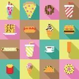 Raccolta di DrukwerkSeamless, pixel, annata, modello dell'alimento della cena nel vettore Fotografia Stock