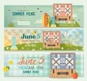 Raccolta di estate di vettore dell'insegna di picnic della famiglia Insegne orizzontali messe della radura di picnic illustrazione di stock