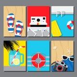 Raccolta di estate, modello di progettazione di viaggio, carta, manifesto, insegna, illustrazione di vettore Fotografie Stock