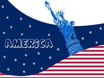 Raccolta di fama mondiale del punto di riferimento, statua della libertà, New York, vettore di U.S.A. illustrazione vettoriale
