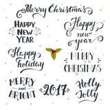 Raccolta di festa disegnata a mano del nuovo anno e di Natale Immagini Stock Libere da Diritti