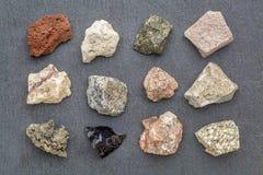 Raccolta di geologia della roccia eruttiva Fotografie Stock Libere da Diritti