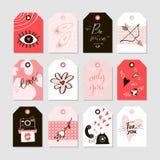 Raccolta di giorno di biglietti di S. Valentino con 12 etichette del regalo Fotografia Stock Libera da Diritti