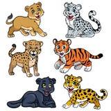 Raccolta di grandi gatti dei bambini royalty illustrazione gratis
