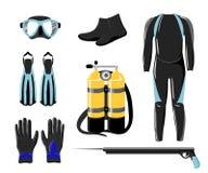 Raccolta di immersione subacquea Guanto e torcia elettrica subacquei del mare dell'acqua di sport Immagini Stock Libere da Diritti