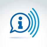 Raccolta di informazioni ed icona di tema di scambio, notizie, vettore Fotografia Stock Libera da Diritti