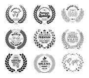 Raccolta di Laurel Wreath Vector Basic Black Immagine Stock