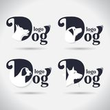 Raccolta di logo del cane di logo animale font Freeform Simbolo Estratto Illustrazione di vettore Su fondo bianco illustrazione di stock