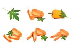 Raccolta di manipolazione genetica della frutta della papaia isolata su un wh Fotografia Stock Libera da Diritti