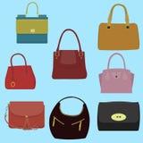 Raccolta di modo delle donne delle borse Immagine Stock Libera da Diritti