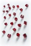 Raccolta di molti doppi cristalli verdi dei coni in una scatola bianca Immagine Stock Libera da Diritti