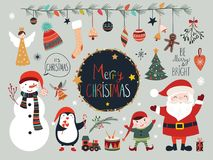 Raccolta di Natale con gli elementi, Santa ed il pupazzo di neve stagionali Immagini Stock Libere da Diritti