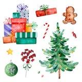 Raccolta di Natale con l'albero di Natale, la caramella, i regali ed altre decorazioni illustrazione di stock