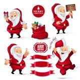 Raccolta di Natale dei caratteri di Santa Claus, insegne del nastro per il vostro progetto di progettazione Fotografia Stock