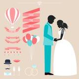 Raccolta di nozze con la sposa, la siluetta dello sposo e dicembre romantico Fotografia Stock Libera da Diritti