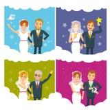 Raccolta di nozze di vettore delle spose e degli sposi delle persone appena sposate Immagine Stock