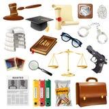 Raccolta di Objects And Symbols della giustizia di legge Fotografie Stock