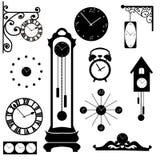 Raccolta di orologio e dell'orologio, elemento interno nero Immagine Stock Libera da Diritti