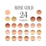 Raccolta di pendenza dell'oro di Rosa per progettazione di modo, illustrazione Immagini Stock