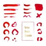 Raccolta di pittura rossa, colpi della spazzola dell'inchiostro, spazzole, linee Fotografie Stock Libere da Diritti