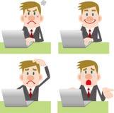 Raccolta di posa del computer dell'uomo d'affari Immagine Stock