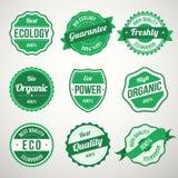 Raccolta di retro bio- etichette verdi d'annata di progettazione di ecologia Fotografia Stock
