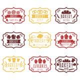 Raccolta di retro etichette d'annata del forno con pane, pretze Immagine Stock