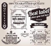 Raccolta di retro etichette d'annata, distintivi, bolli, nastri Immagine Stock Libera da Diritti