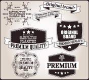 Raccolta di retro etichette d'annata, distintivi, bolli, nastri Fotografia Stock