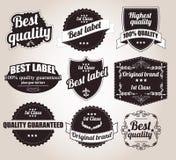 Raccolta di retro etichette d'annata, distintivi, bolli, nastri Fotografia Stock Libera da Diritti