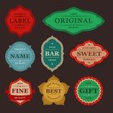 Raccolta di retro etichette variopinte d'annata di progettazione Fotografia Stock