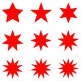 Raccolta di retro forme d'avanguardia delle stelle Insieme di elementi di progettazione dello sprazzo di sole Scoppio del clipart Fotografia Stock Libera da Diritti