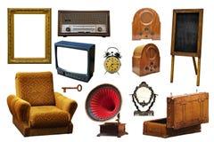 Raccolta di retro oggetti relativi domestici d'annata isolati sul whi fotografia stock libera da diritti
