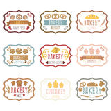 Raccolta di retro pane d'annata delle etichette di logo del forno, pretze Fotografia Stock