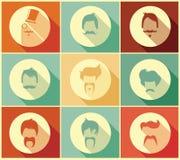 Raccolta di retro stili e dei baffi di capelli dei pantaloni a vita bassa Fotografie Stock Libere da Diritti