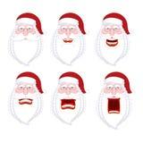Raccolta di Santa Emoji Insieme di Santa Claus delle emozioni Arrabbiato e f Immagini Stock