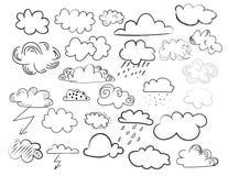 Raccolta di scarabocchio delle nuvole di vettore elementi di previsioni del tempo nuvole disegnate a mano del fumetto Fotografia Stock Libera da Diritti
