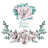 Raccolta di scenetta delle rose bianche Fotografia Stock Libera da Diritti
