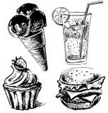Raccolta di schizzo dei dessert e degli alimenti a rapida preparazione Fotografia Stock
