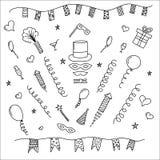 Raccolta di simboli di carnevale - maschere di carnevale, decorazioni del partito Immagine Stock Libera da Diritti