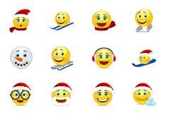 Raccolta di sorriso del nuovo anno e di Natale Fotografia Stock