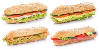 Raccolta di sotto panini con il pesce di color salmone del formaggio del prosciutto del salame Immagini Stock Libere da Diritti